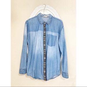 Boho Western Chambray Button Down Shirt